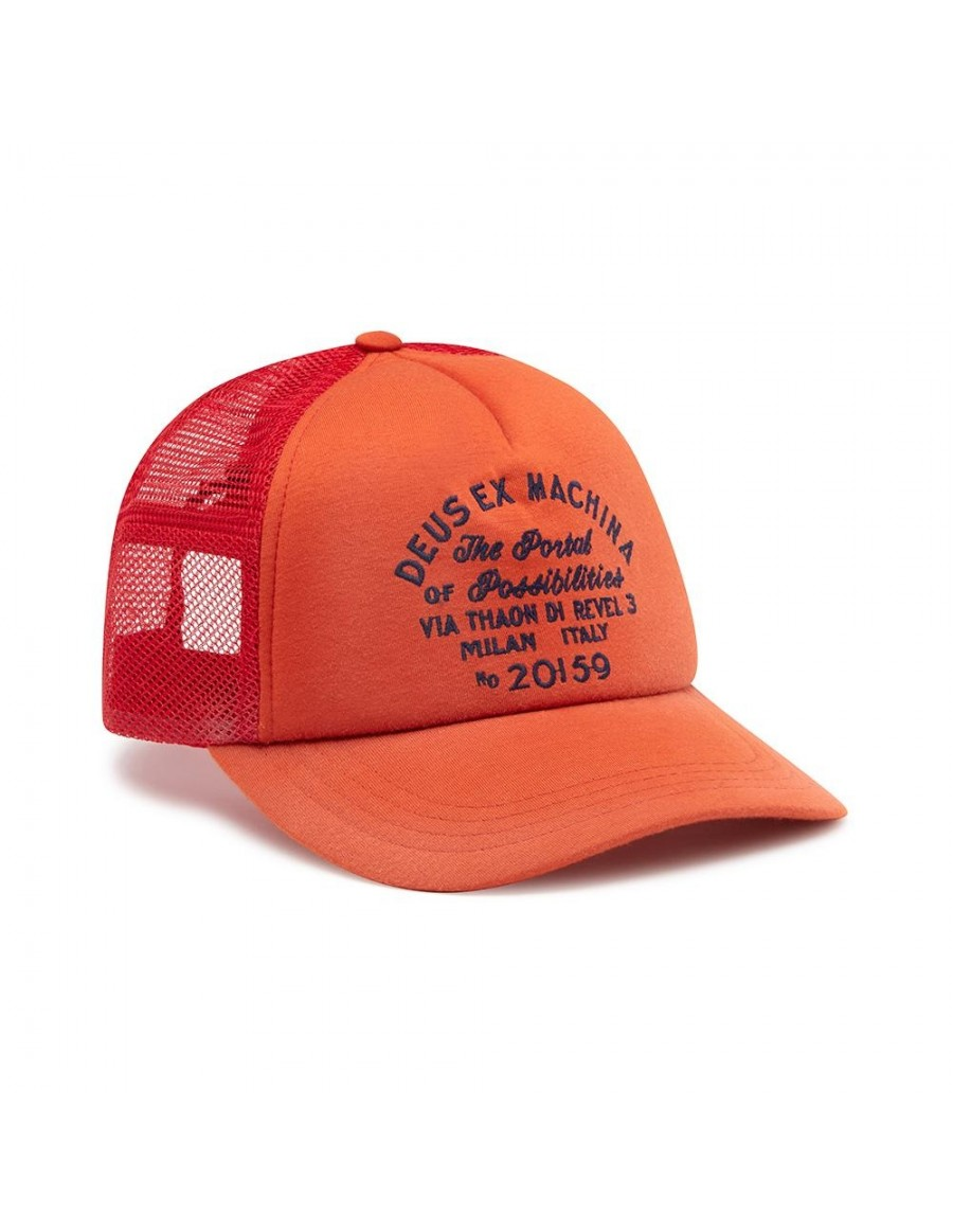 DEUS Bleached Milan Trucker cap - Red Clay