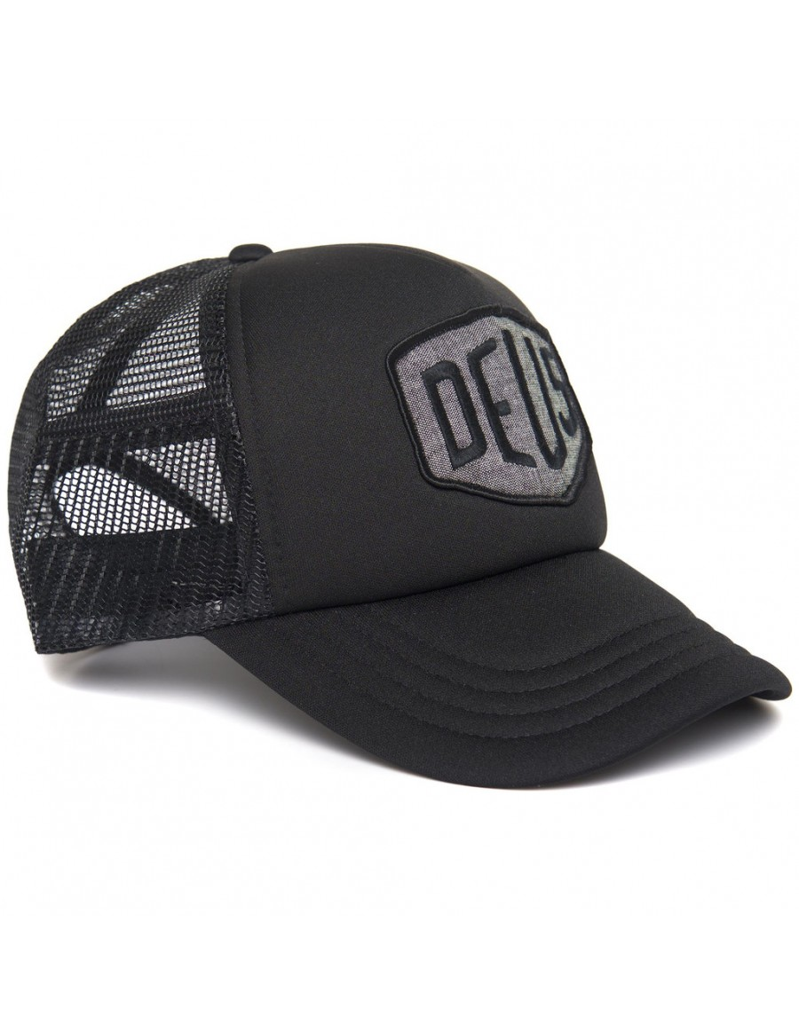 DEUS Trucker cap Chambray Shield - Black
