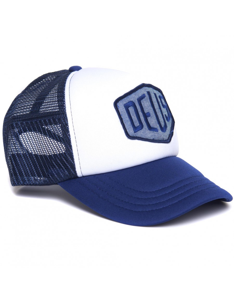 DEUS Trucker cap Chambray Shield - Navy
