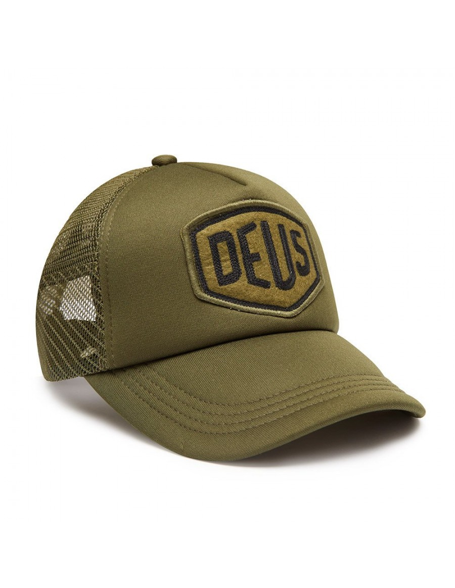 DEUS Trucker hat Felt Shield - olive - €34.95 + LOW shippingcosts db081300455