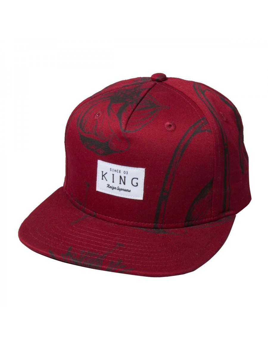 King Apparel Botanic Strapback maroon - Sale