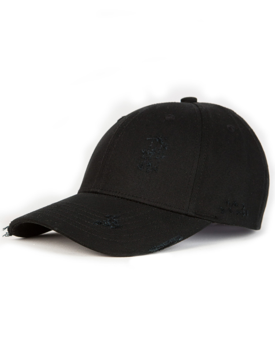 NVLTY London Distressed Curved cap - black