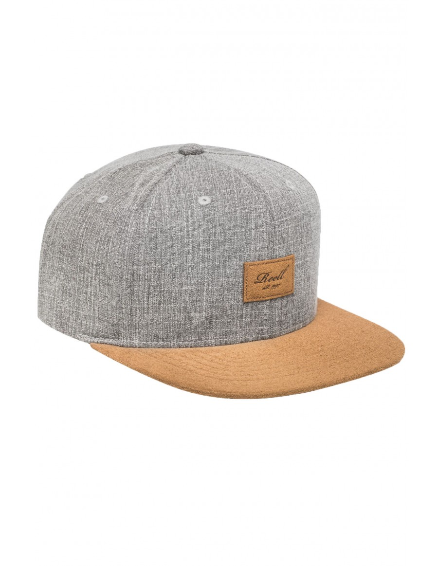 Reell 6 panel Suede cap snapback Grey Crosshatch