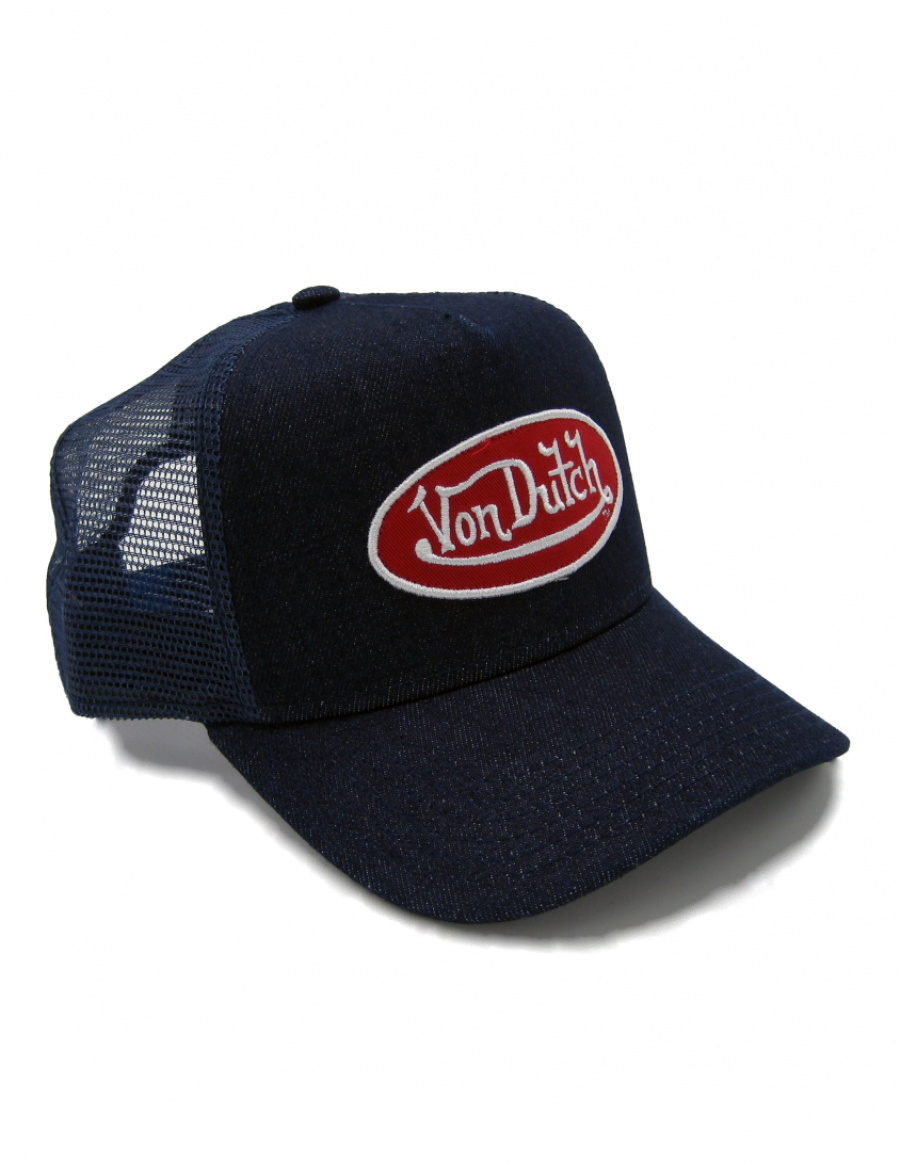 Von Dutch Logo trucker cap - denim red
