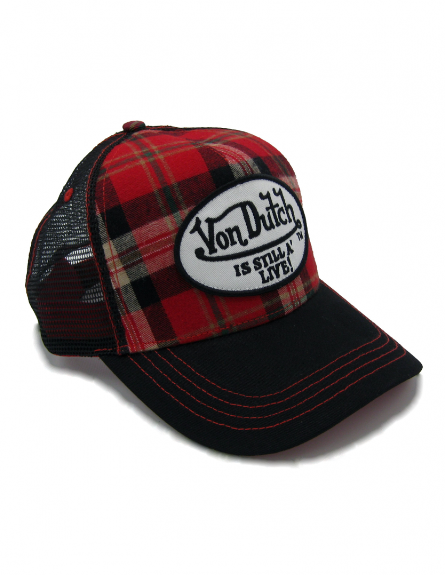 Von Dutch Red Flannel trucker cap - red black