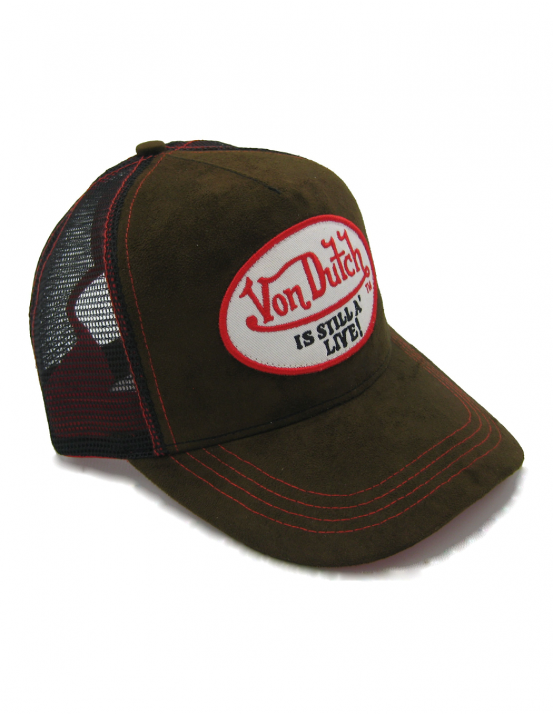 Von Dutch Still Alive Leather trucker cap - brown + LOW shippingcosts 031bfcbf2e1